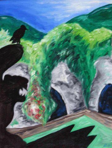 Ombra del Castello su Paesaggio della Loira 1 - 2004   Olio su Tela