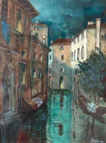 Venezia al Chiaro di Luna - 1999   Olio su Cartone Telato